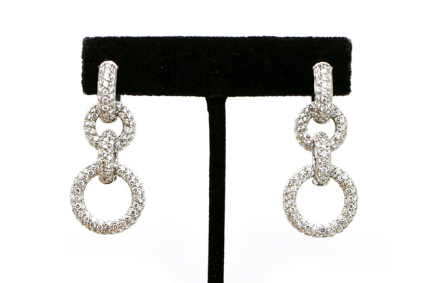 18k White Gold Diamond Loop Chain Drop Dangle Earrings - 42 mm - 4.00 ct. total