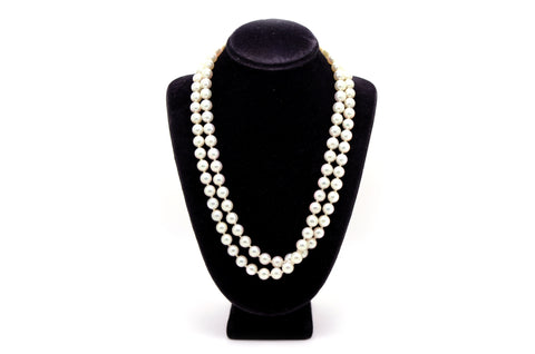 14k Yellow Gold Long 7 mm Pearl Strand Necklace with Fluted Clasp - 31 inches