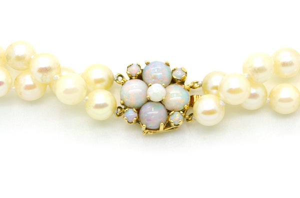 Vintage 14k Yellow Gold Double Strand Pearl Necklace with Opal Clasp - 16 in.