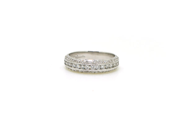 Dev Valencia 18k White Gold Pave Diamond Band Ring - .50 ct. total - Size 5.25