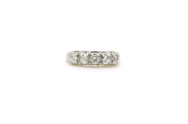 14k White Gold Round Diamond 5-Stone Prong Band Ring - .50 ct. total - Size 5.5