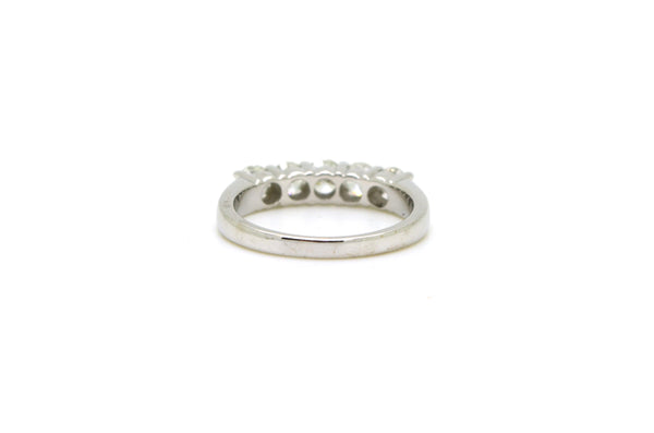 14k White Gold Round Diamond Five Stone Band Ring - 1.00 ct. total - Size 7