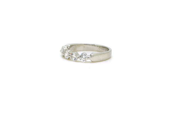Platinum 5-Stone Round Diamond Bar-Set Band Ring - .75 ct. total - Size 6.25