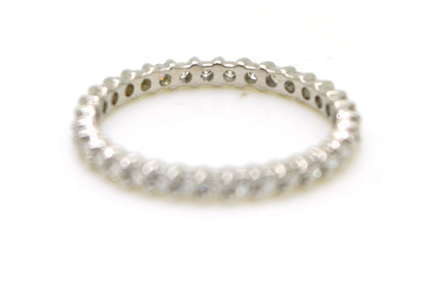 14k White Gold Round Diamond Eternity 2 mm Band Ring - .50 ct. total - Size 4.5