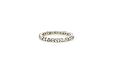 14k White Gold Round Diamond Prong Eternity Band Ring - .33 ct. total - Size 5