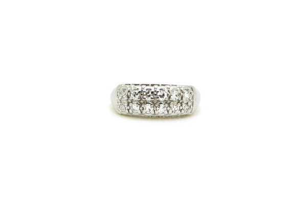 14k White Gold Double Row Pave-Set Diamond Band Ring - .25 ct. total - Size 5