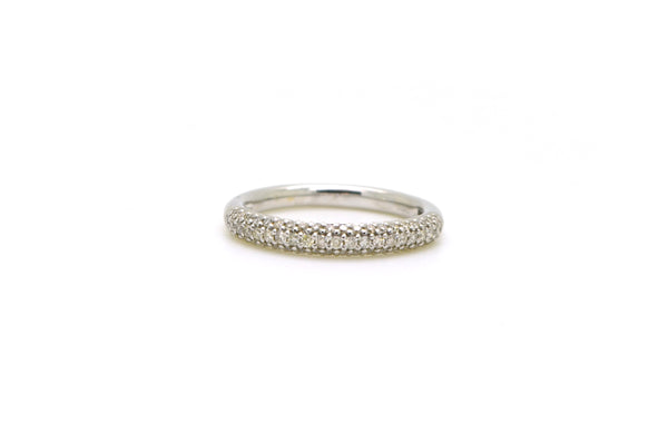 14k White Gold Round Diamond Pave-Set Band Ring - .43 ct. total - Size 6.5