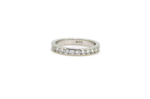 14k White Gold Round Diamond Channel Band Ring - .65 ct. total - Size 5.75
