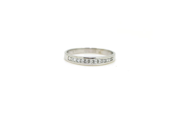 14k White Gold Princess Diamond Channel Band Ring - .33 ct. total - Size 6.25