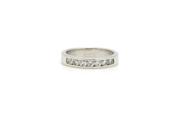 14k White Gold Round Diamond Channel-Set Band Ring - .50 ct. total - Size 6.25
