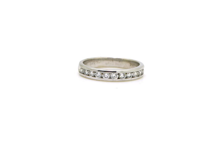18k White Gold Round Diamond Channel-Set Band Ring - .50 ct. total - Size 5.75