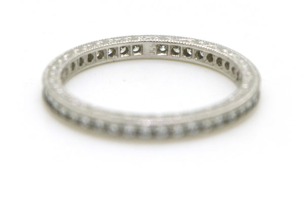 Platinum Diamond Eternity Band Ring with Engraving - .50 ct. total - Size 5.5