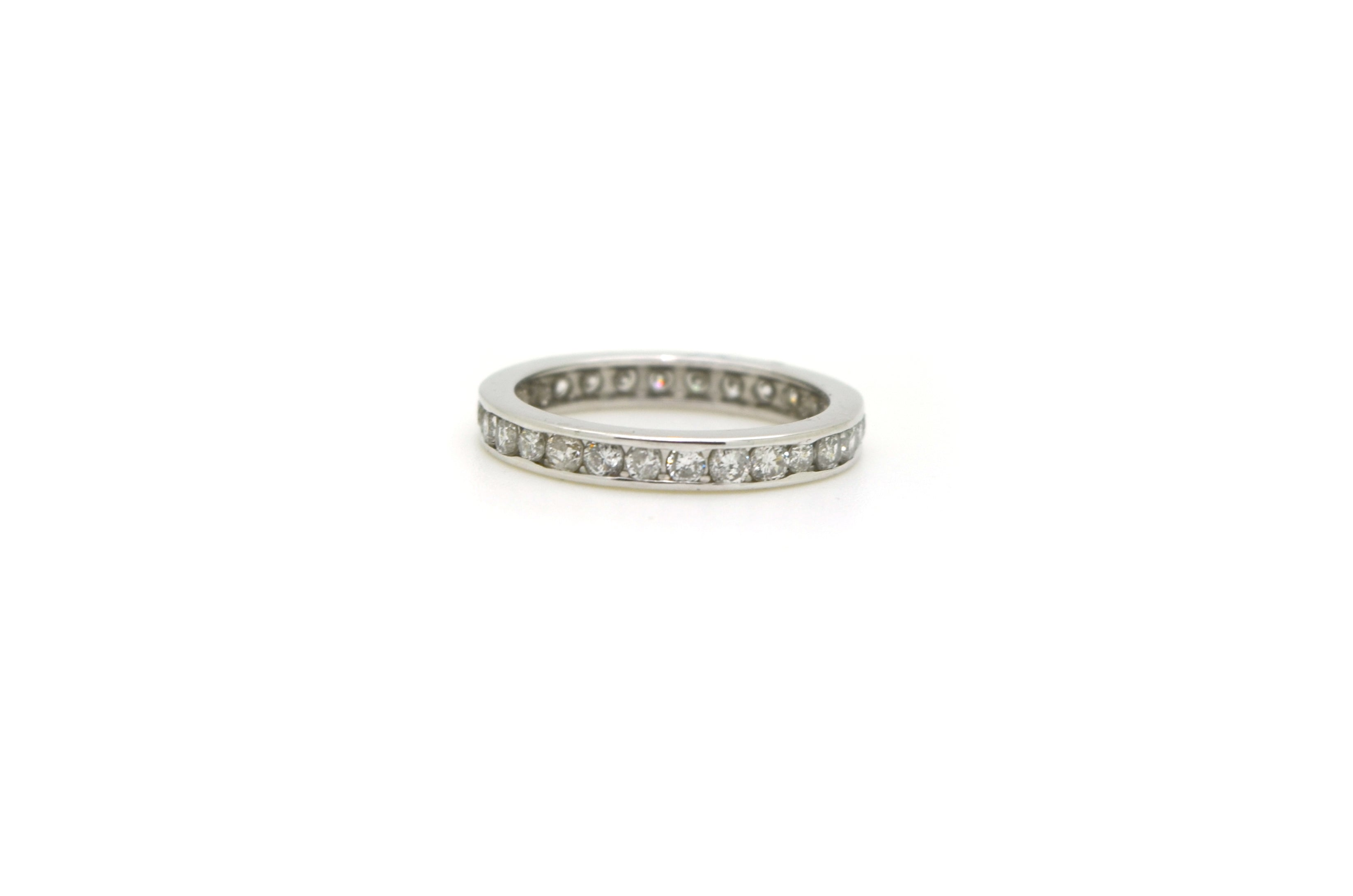 14k White Gold Channel Eternity Diamond Wedding Band Ring - 1.00 ct. - Size 4.5