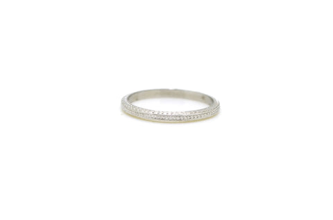 18k White Gold Engraved 1.9 mm Wedding Stacking Stackable Band Ring - Size 6