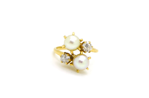 Vintage 14k Yellow Gold Old Mine Diamond & Pearl Ring - .50 ct. tw - Size 5.25