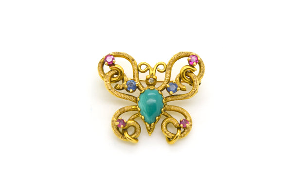 Vintage 14k Gold Butterfly Brooch Pendant with Turquoise Diamond Ruby & Sapphire