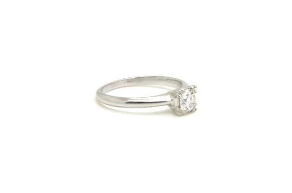 Vintage Platinum Round Diamond Solitaire Engagement Ring - .40 ct. - Size 7