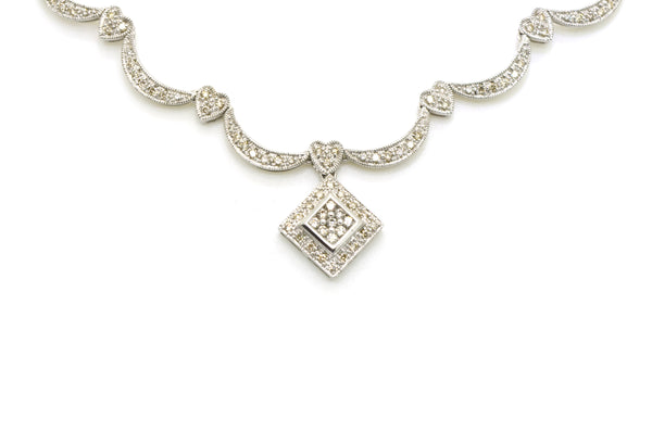 14k White Gold Diamond Cluster Statement Pendant Necklace - 1.50 ct. tw - 16 in.