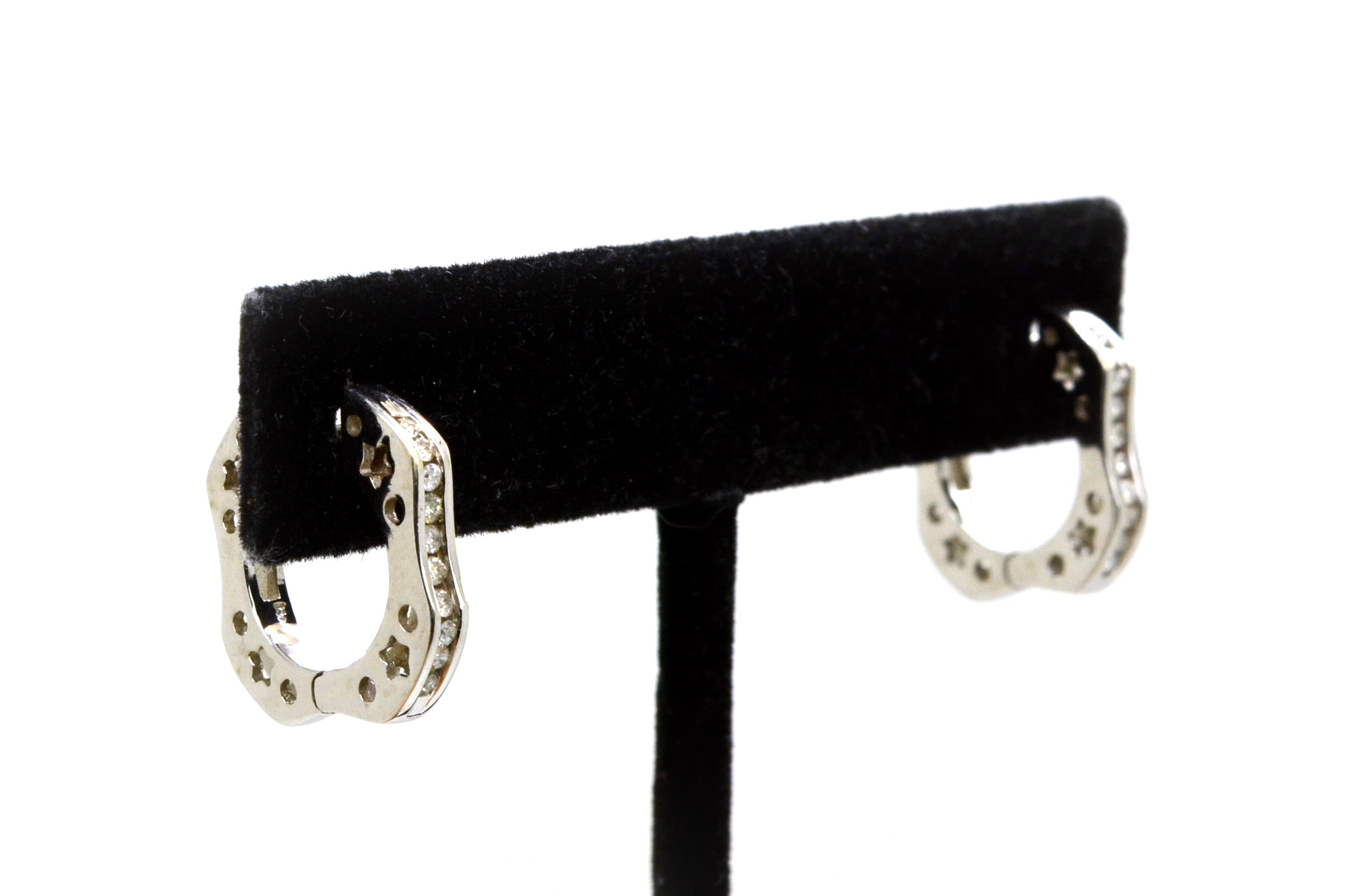 14k White Gold Channel Diamond Huggie Hoop Earrings - 17 mm Drop - .25 ct. total