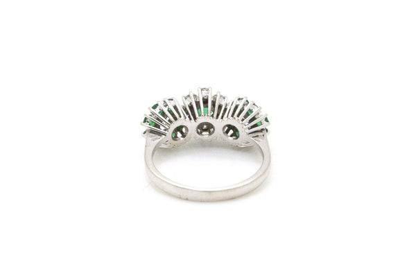 18k White Gold Diamond & Emerald Three Flower Ring - .80 ct. total - Size 5.75