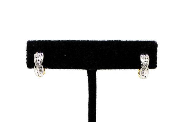 14k White & Yellow Gold Diamond Huggie Hoop Earrings - 13 mm Drop - .10 ct. tw