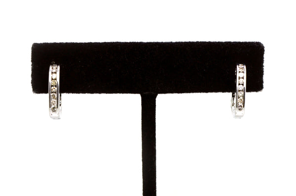 14k White Gold Channel Diamond Huggie Hoop Earrings - 15 mm Drop - .25 ct. total