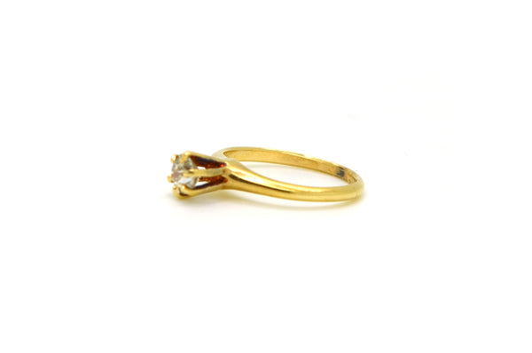 Vintage 14k Yellow Gold Diamond Solitaire Engagement Ring - .35 ct. - Size 4.75