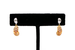 14k White & Rose Gold Diamond Baby Shoe Drop Dangle Earrings - .30 ct. total