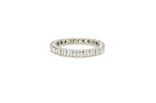 14k White Gold Diamond Bar Eternity 2.5mm Band Ring - 1.00 ct. total - Size 6.25