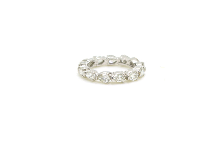 Platinum Pear Shaped Diamond Eternity 3.4 mm Band Ring - 1.44 ct. tw - Size 4.5