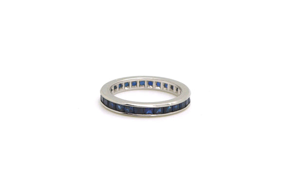 Platinum Princess-Cut Blue Sapphire Eternity Band Ring - .90 ct. tw - Size 4.5