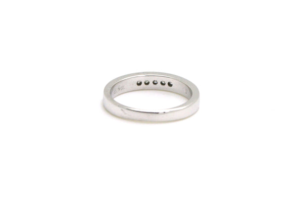10k White Gold Channel-Set Round Diamond Wedding Band - .10 ct. total - Size 7