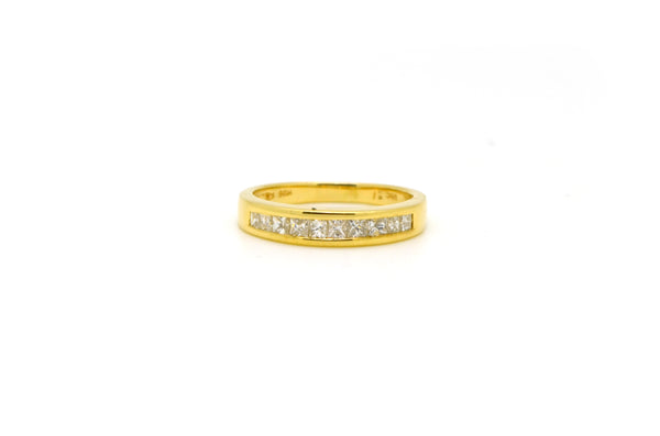 14k Yellow Gold Princess Diamond Channel-Set Band Ring - .50 ct. total - Size 6