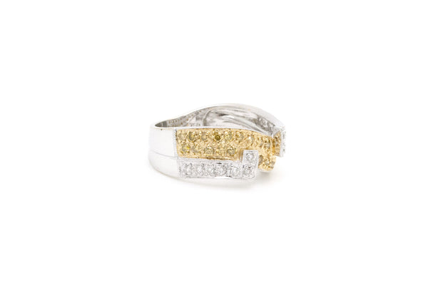18k White & Yellow Gold Diamond Two-Toned Band Ring - .60 ct. total - Size 6.5