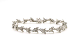 14k White Gold Scroll Link Diamond Tennis Bracelet - 1.40 ct. total - 7 in.