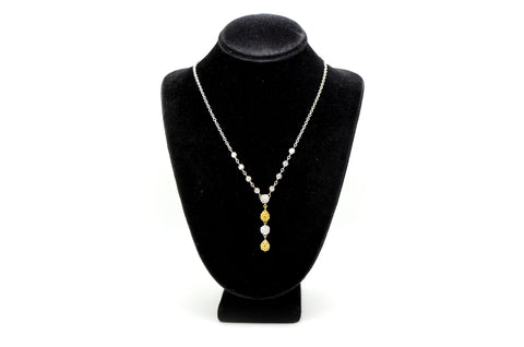 Gregg Ruth 18k Gold White & Yellow Diamond Drop Necklace - .93 ct. tw - 16.5 in.