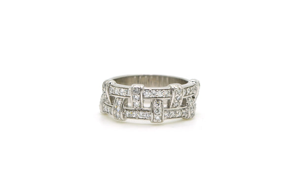14k White Gold Diamond Pave-Set Woven Pattern Ring - .50 ct. total - Size 6.5