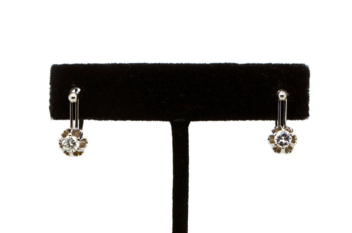 Vintage 14k White Gold Diamond Flower Huggie Earrings - 16 mm Drop - .60 ct. tw