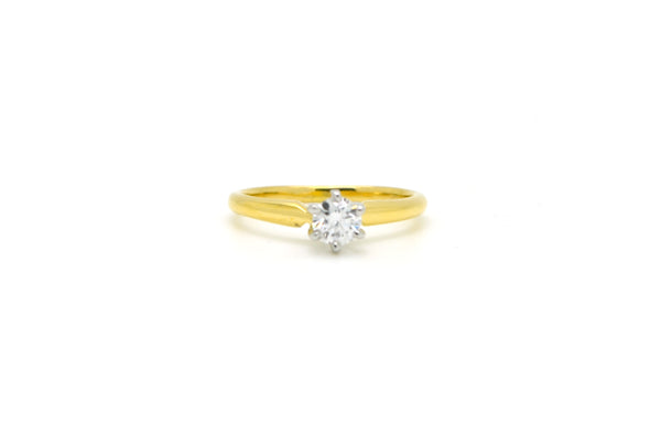 18k Yellow Gold & Platinum Diamond Solitaire Engagement Ring - .42 ct - Size 7.5