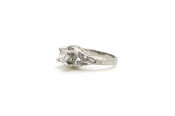 Vintage Platinum Diamond Engraved Engagement Ring - .76 ct. total - Size 6.25