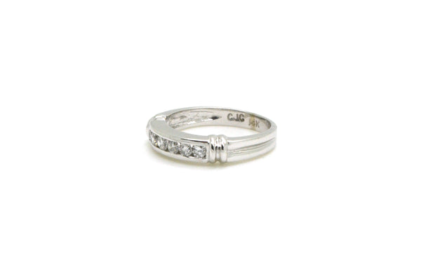 14k White Gold Channel Diamond Wedding Band Ring - .40 ct. total - Size 5.75