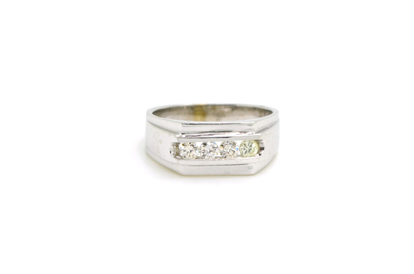 14k White Gold 4-Stone Round Diamond Band Ring - .50 ct. total - Size 9.5