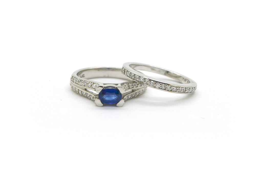 14k White Gold Sapphire Diamond Engagement Wedding Ring Set 1.00 cttw - Size 6.5