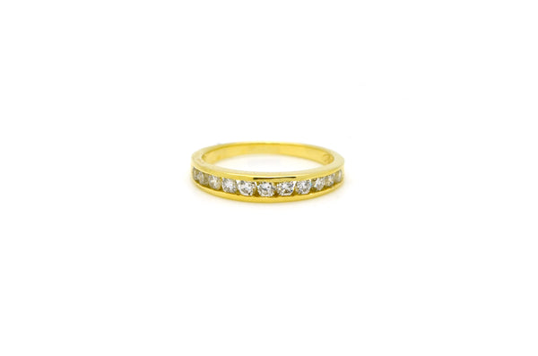 14k Yellow Gold Round Diamond Channel-Set Band Ring - .50 ct. total - Size 6