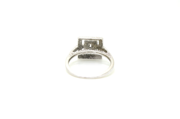 Vintage 10k White Gold Cocktail Ring with Single Cut Diamond - .01 ct. - Size 6