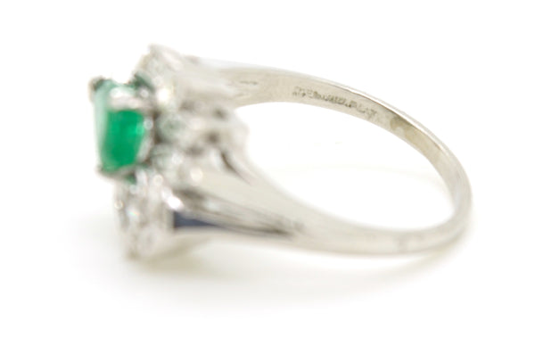 Vintage Platinum Diamond & Emerald Cocktail Cluster Ring - 2.00 ct tw - Size 8.5
