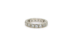 14k White Gold Round Diamond Prong Eternity Band Ring - 2.21 ct. total - Size 6