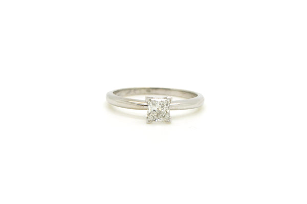 14k White Gold Princess Cut Diamond Engagement Ring - .51 ct. AGA F SI2 - Size 7