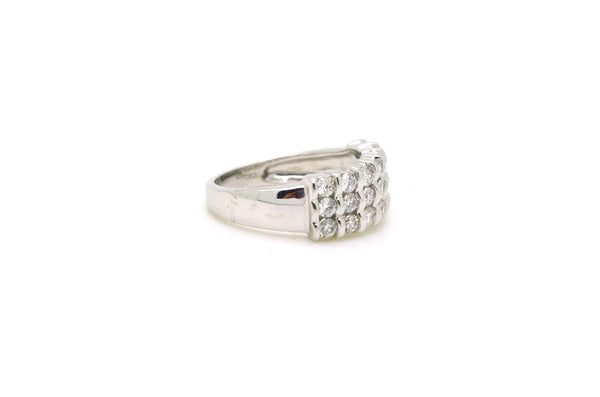 14k White Gold Three Row Diamond Band Ring - 1.05 ct. total - Size 6.75