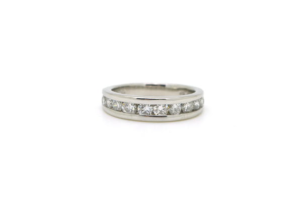 Platinum Channel Set 10-Stone Round Diamond Band Ring - 1.00 ct. tw - Size 6.75